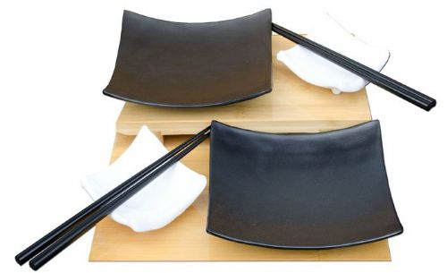 Contemporary sushi set square black & white melamine x2 – Melamine plastic